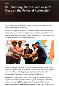 Prayasta won special jury award @DemoDay, 2018